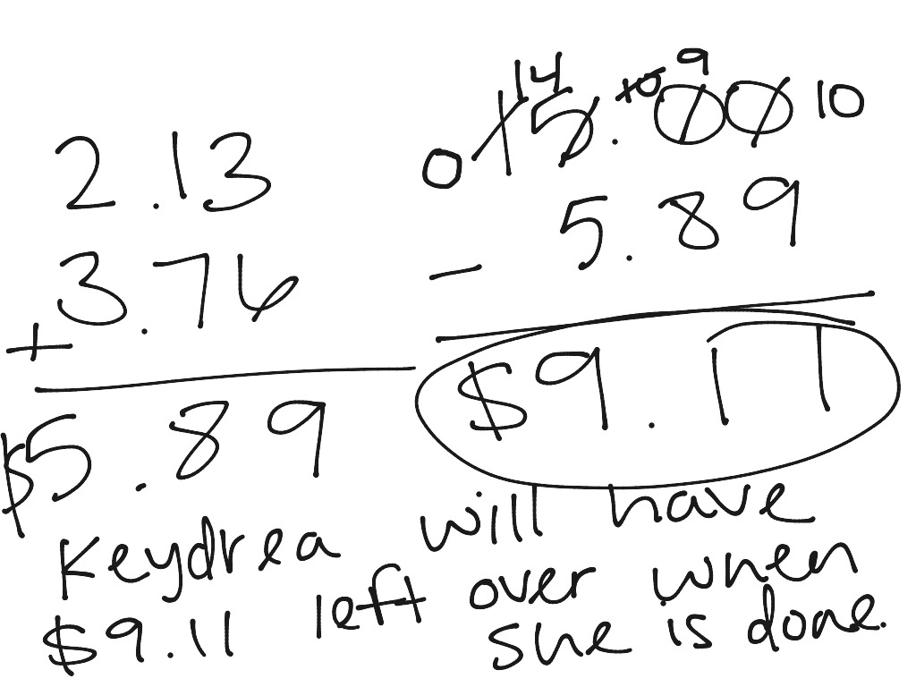 Adding Subtracting Decimals Example