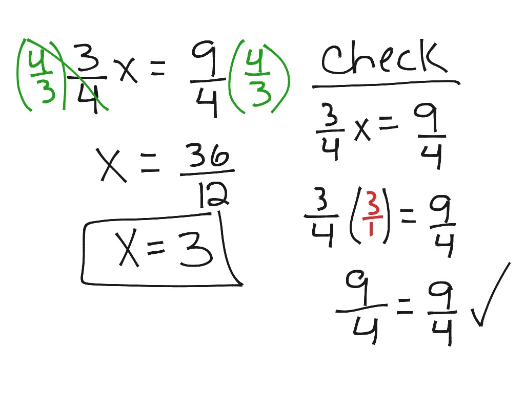 One Step Multiplication With A Fraction Equation