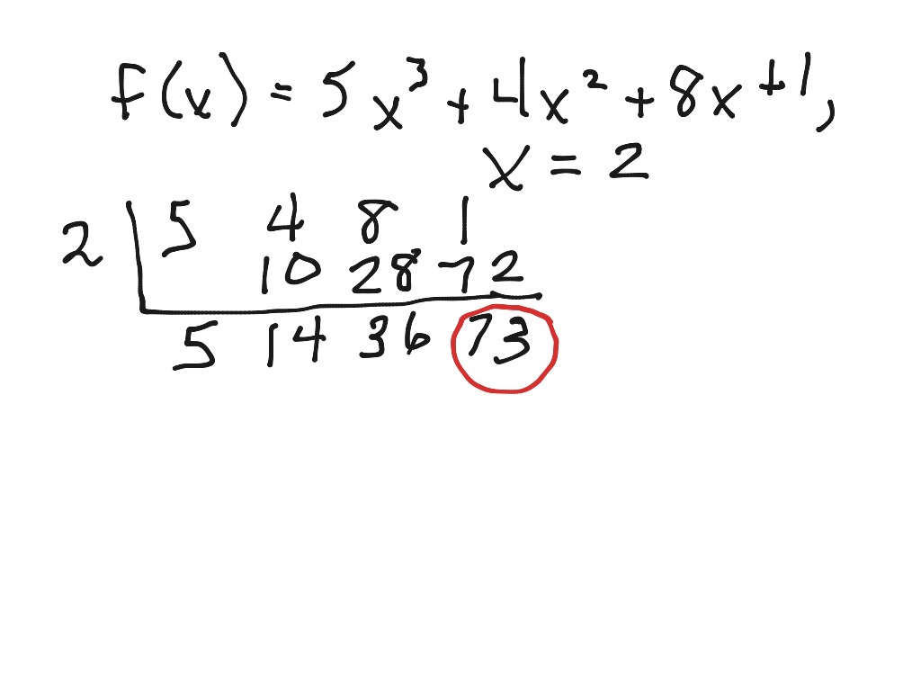 Synthetic Division To Evaluate A Function
