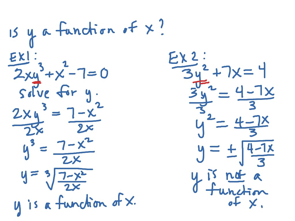 Determining Whether An Equation Represents Y As A Function