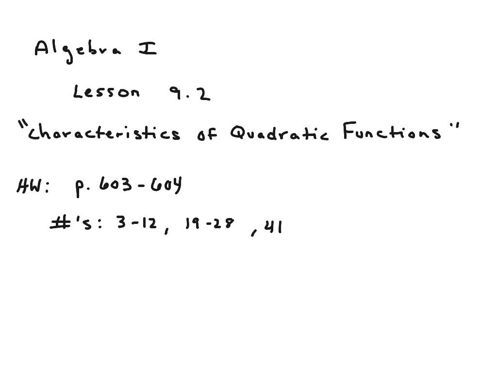 Algebra I Lesson 9 2 Characteristics Of Quadratic Functions