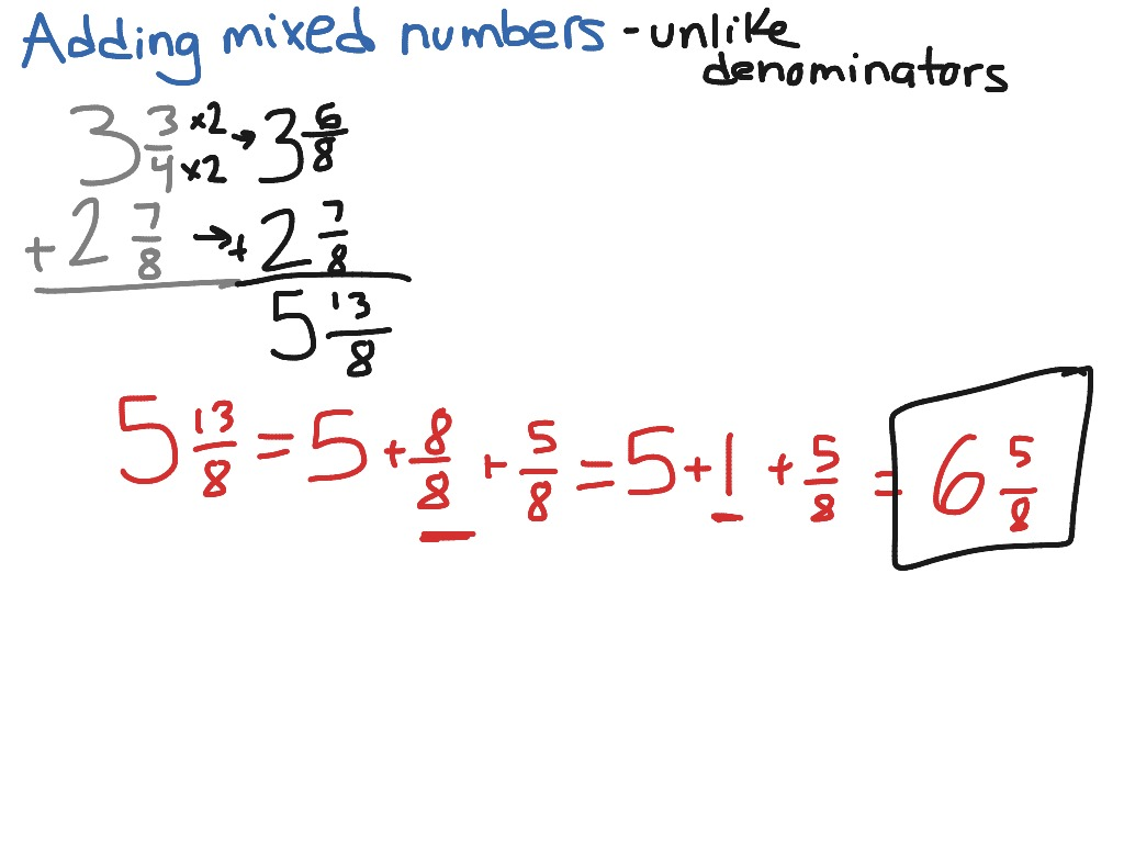 Adding Mixed Fractions With Unlike Denominators Calculator