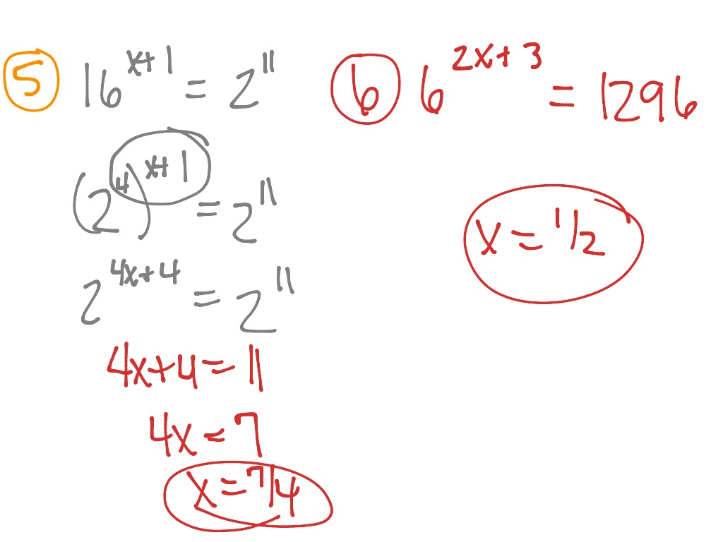 Solving Equations Using Exponents Day 2
