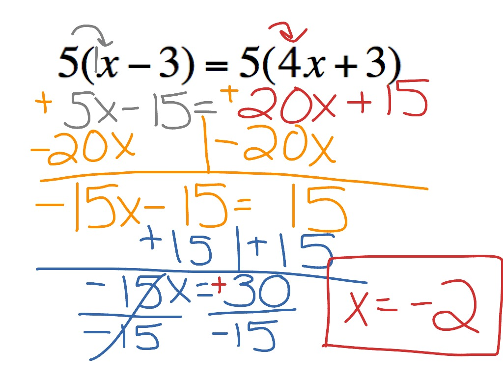 Solving Equations Variables On Both Sides Distributive Property