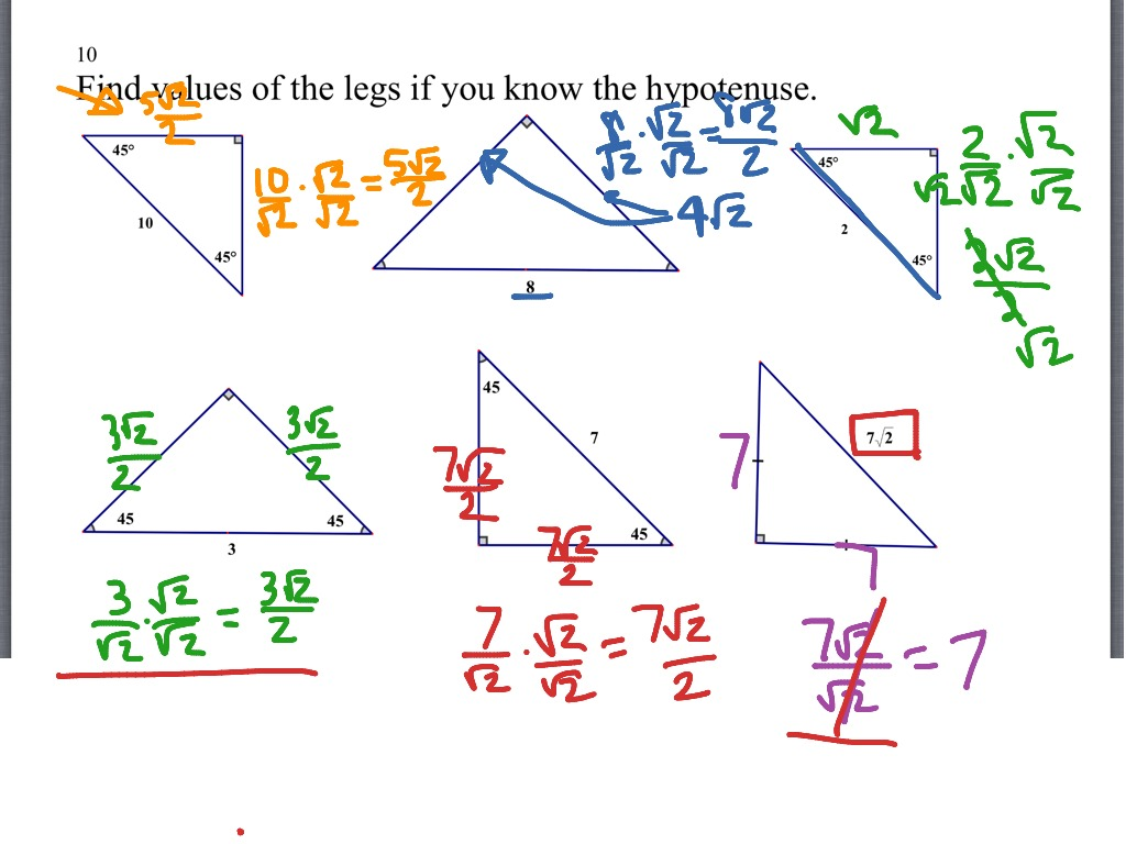 45 45 90 Triangle Worksheet Kuta