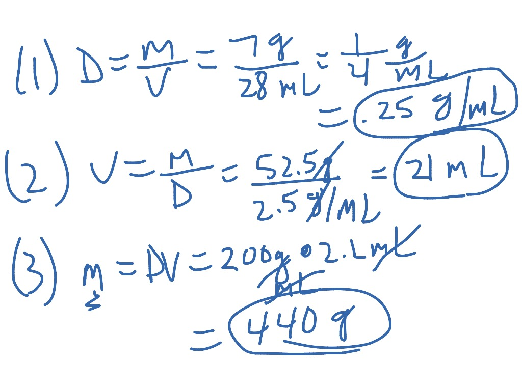 Example Mass Volume Density Problems