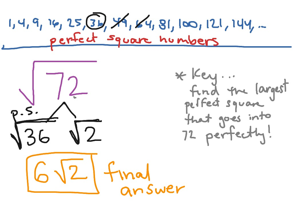 Simplifying Square Root Of 72