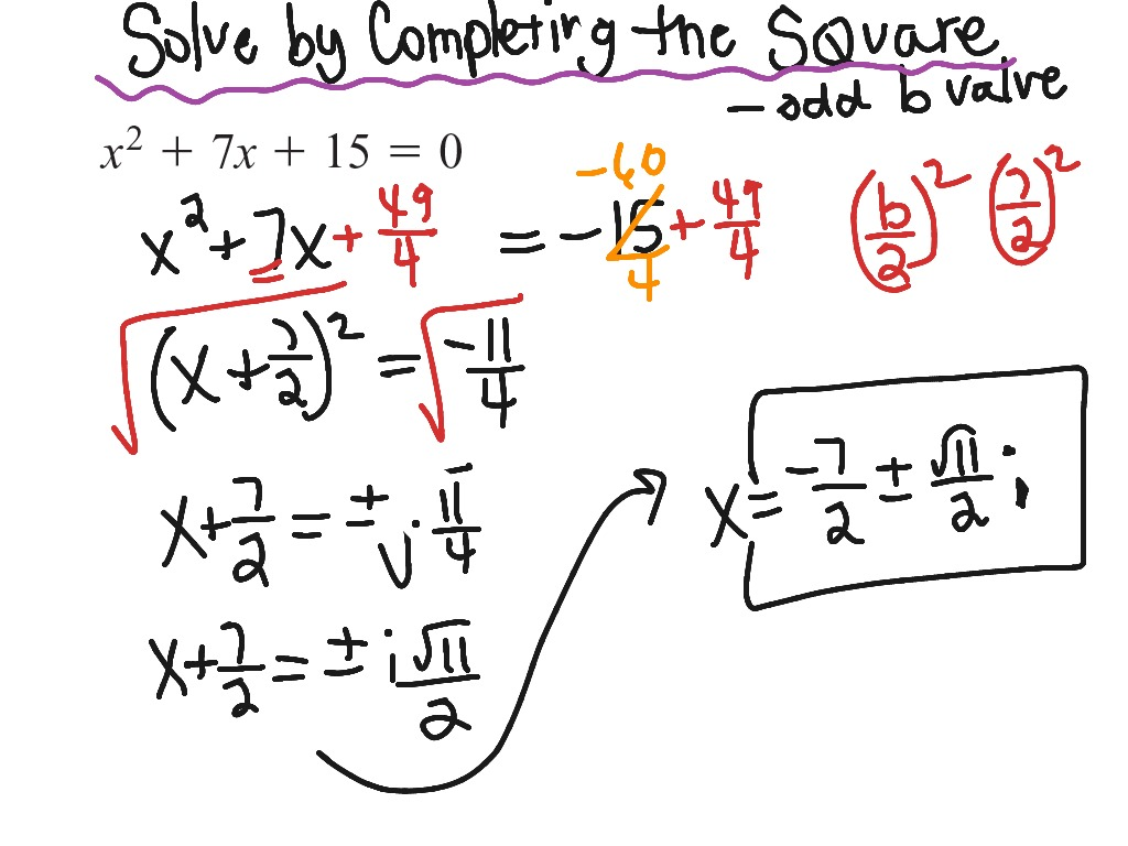 Completing The Square Imaginary Numbers Worksheet