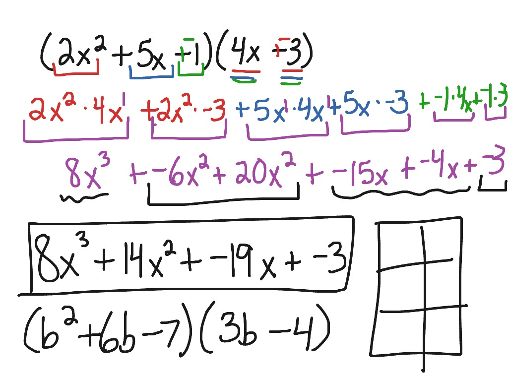 9 3 Multiply Polynomials Distributive Property Method