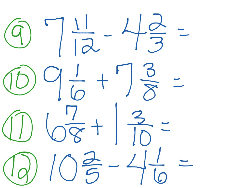 Add Subtract Mixed Numbers