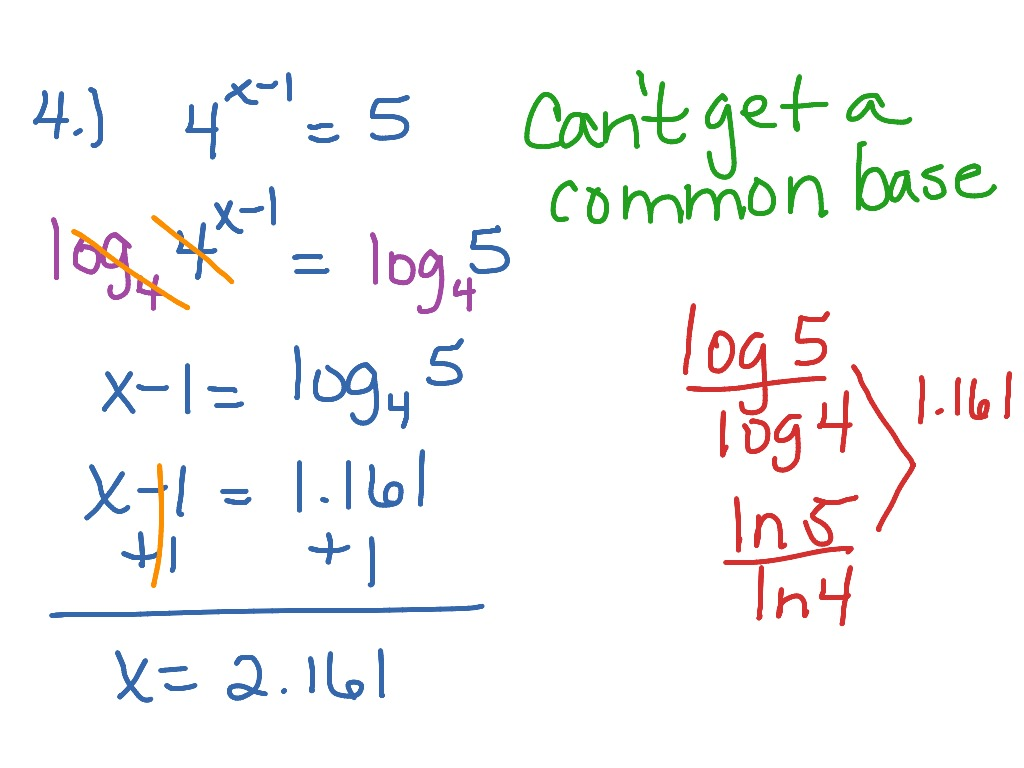 Solving Logarithmic Equations Review