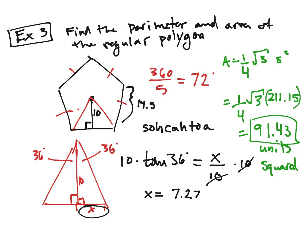 Examples For Areas Of Regular Polygons