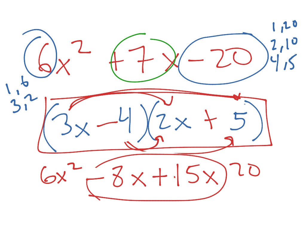 9 6 Factoring Trinomials Of The Type Ax 2 Bx C
