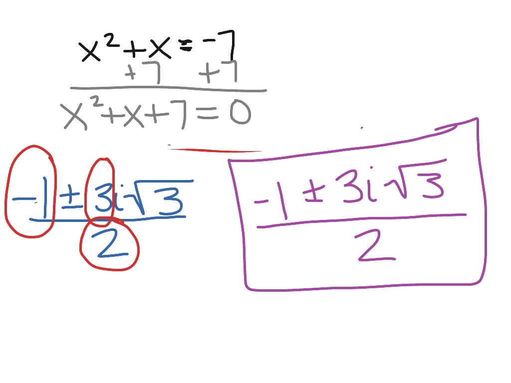 Solving Quadratic Equations With Complex Solutions Examples
