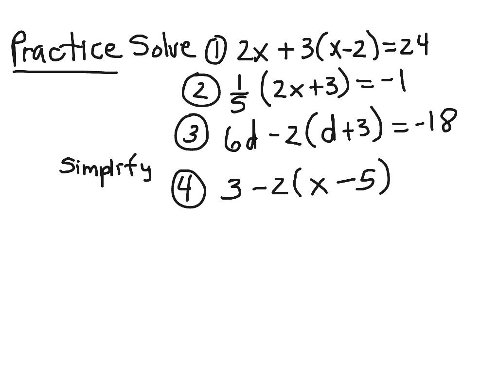Pre Algebra 4 4 Solving Equations Using The Distributive