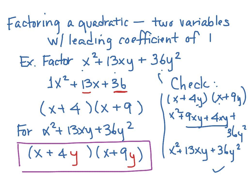 Mat Aleks Module 6 Factoring A Quadratic In Two