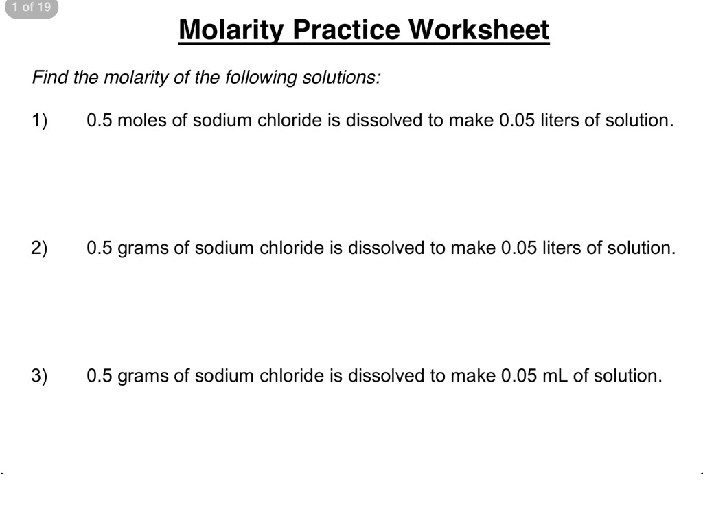 35 Molarity Worksheet Answers Chemistry