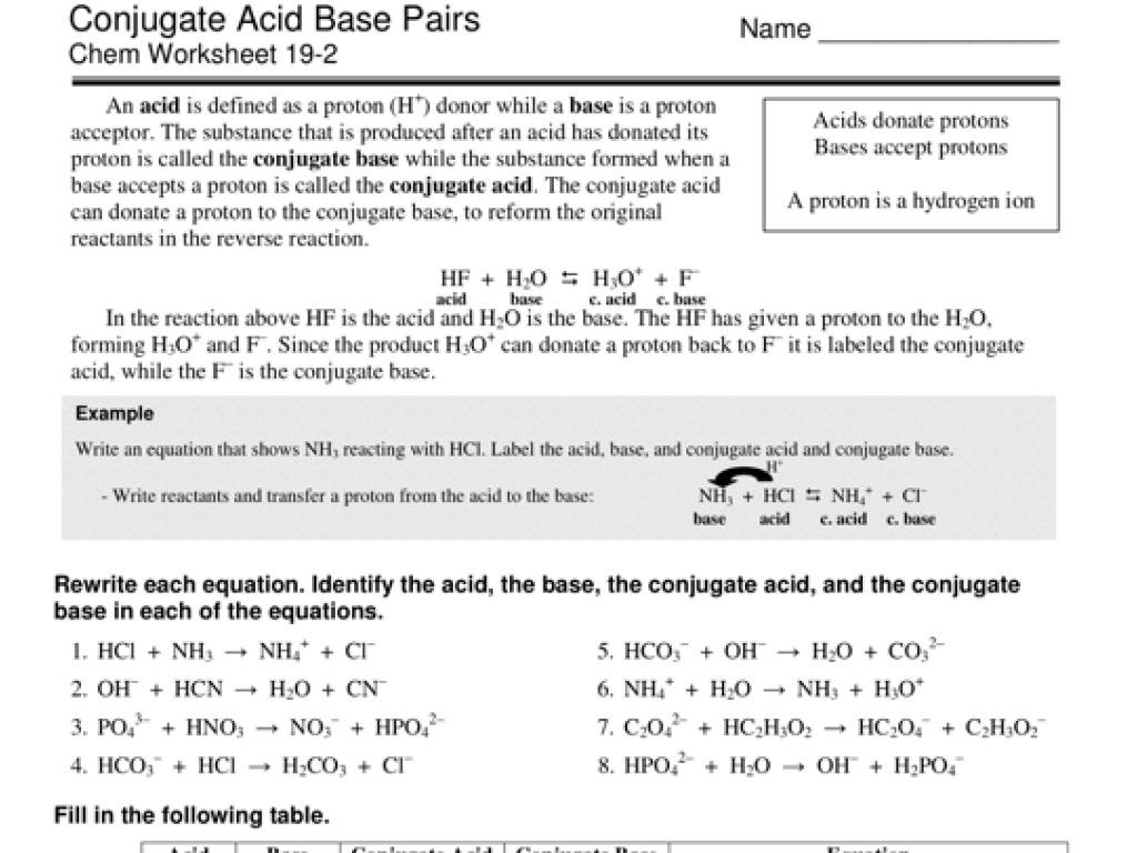 Conjugate Acid Base Pairs Chem Worksheet 19 2