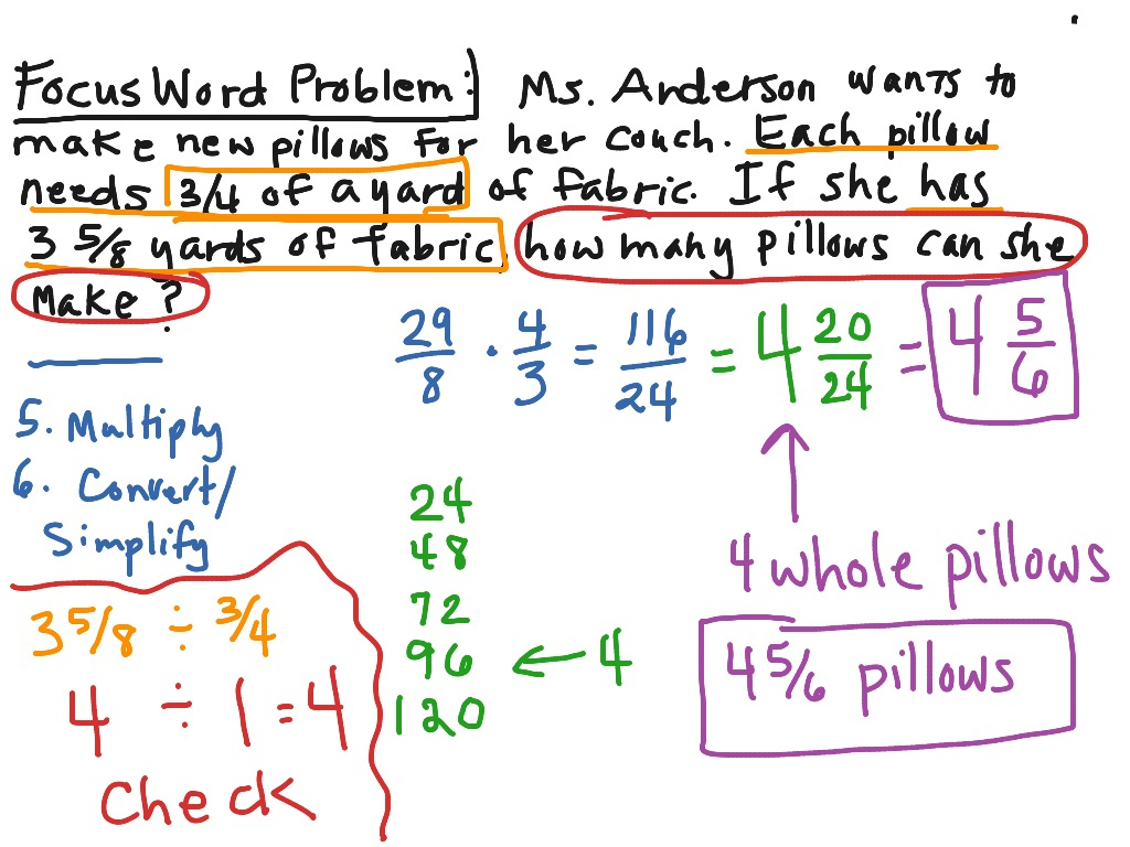 Dividing Fractions With Whole Numbers Word Problems