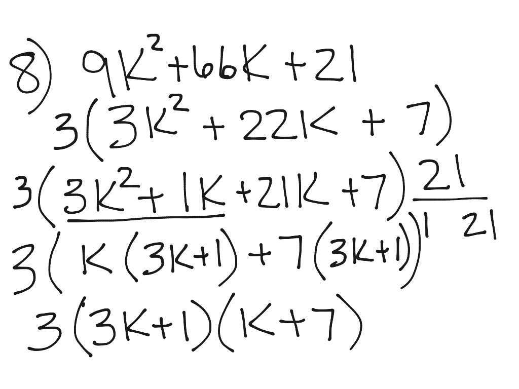 Kuta Factoring Trinomials A Gt 1 Number 7 And 8