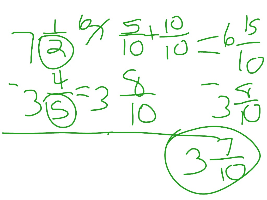 Subtracting Mixed Fractions With Renaming
