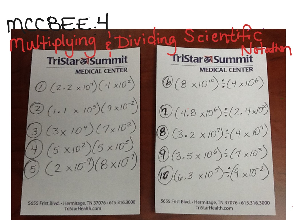 Multiplying Amp Dividing Scientific Notation Class Lesson 9
