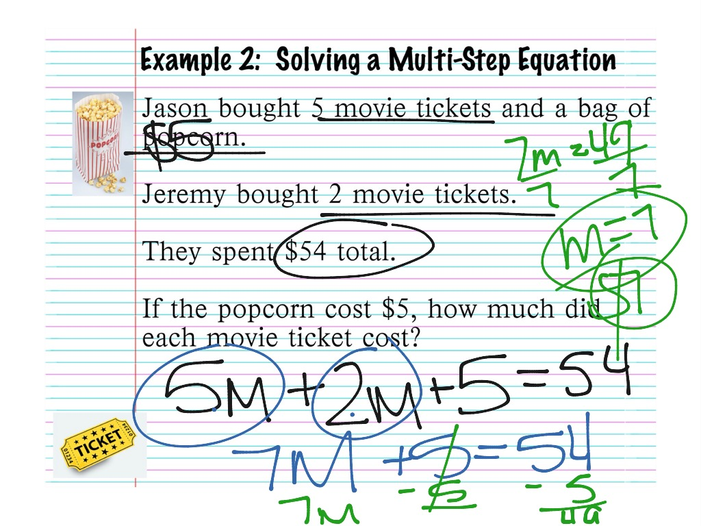 Solving Multi Step Equations Word Problems Worksheet