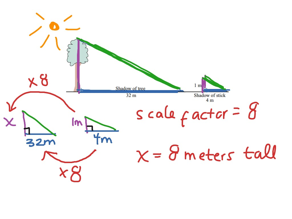 Similar Triangles Shadow Method With Scale Factor