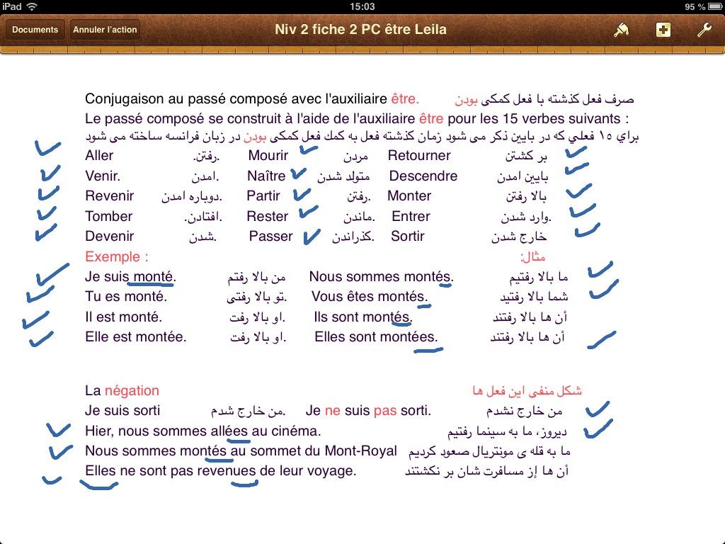 Passe Compose Avec L Auxiliaire Etre Explique En Farsi