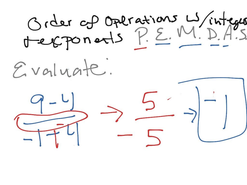 Order Of Operations With Integers And Exponents