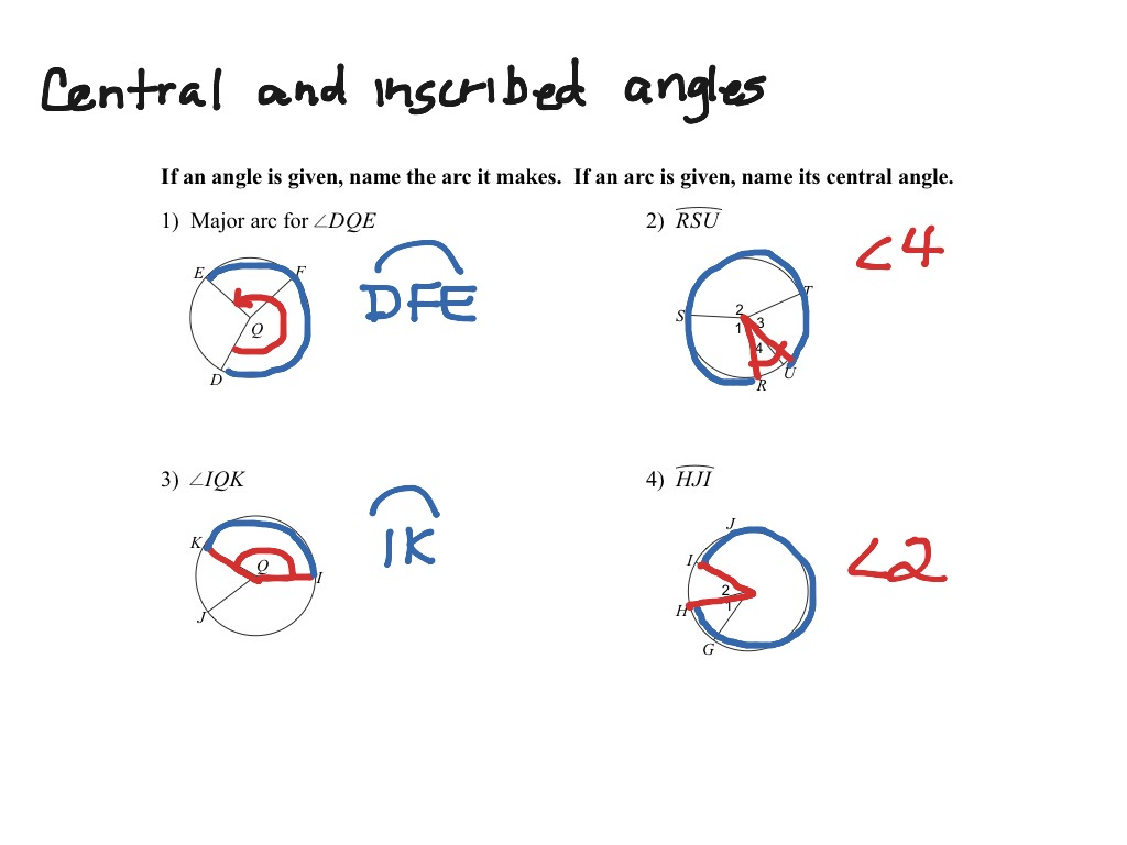 Central And Inscribed Angles And Their Arcs