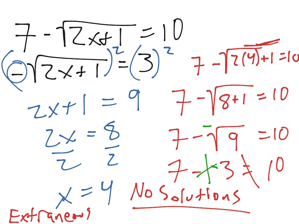 Solving Square Root Equations