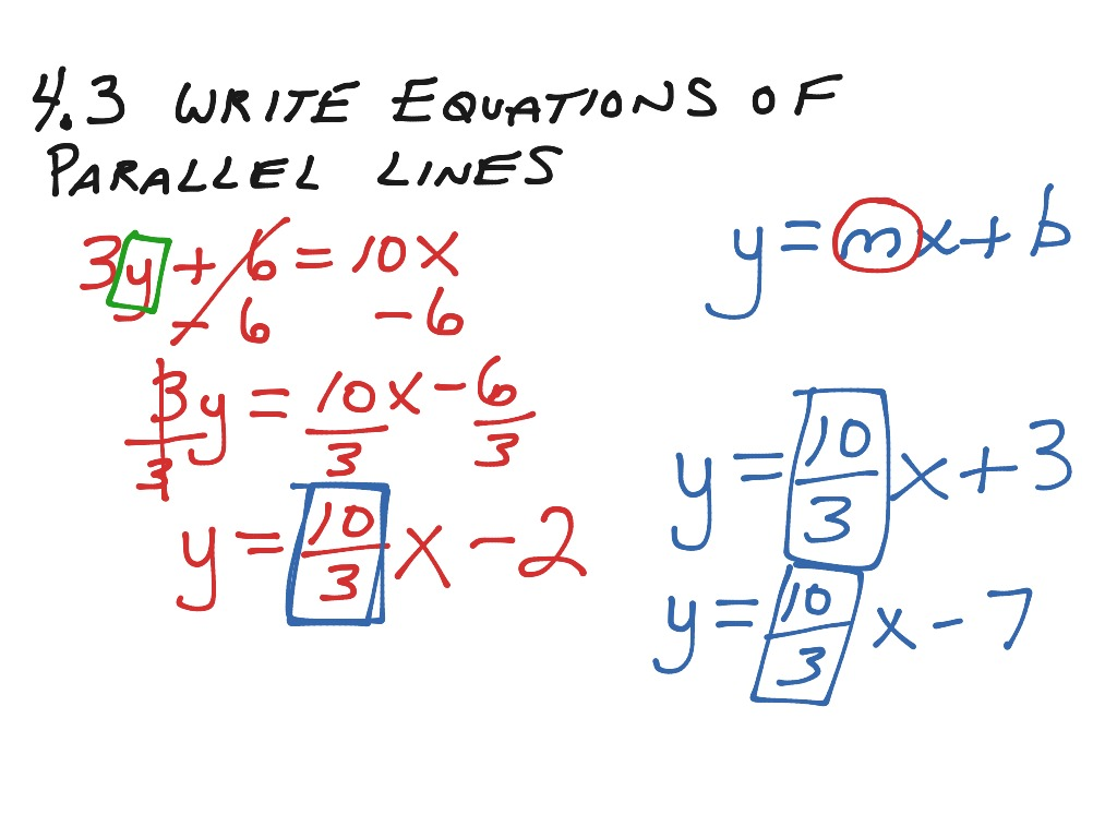 Mif 4 3 Write Equations Of Parallel Lines