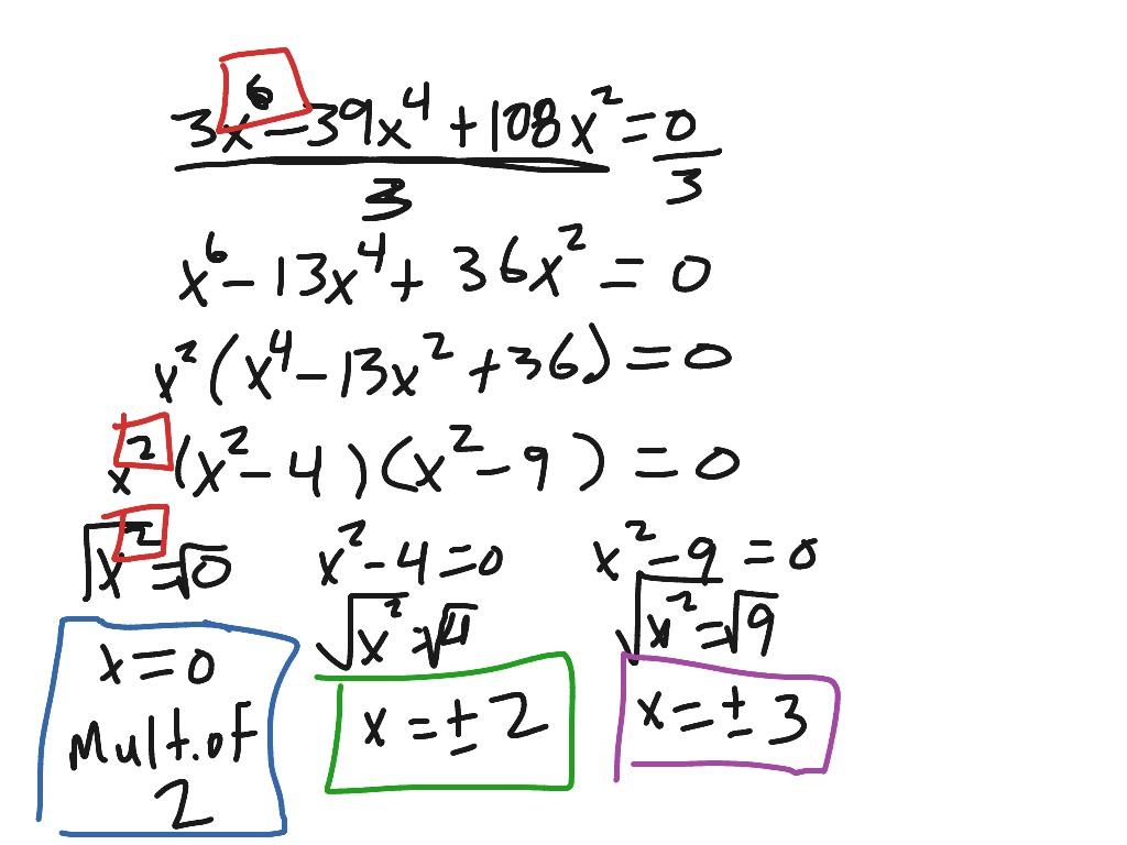 Factoring And Solving Ax 4 Bx 2 C 0