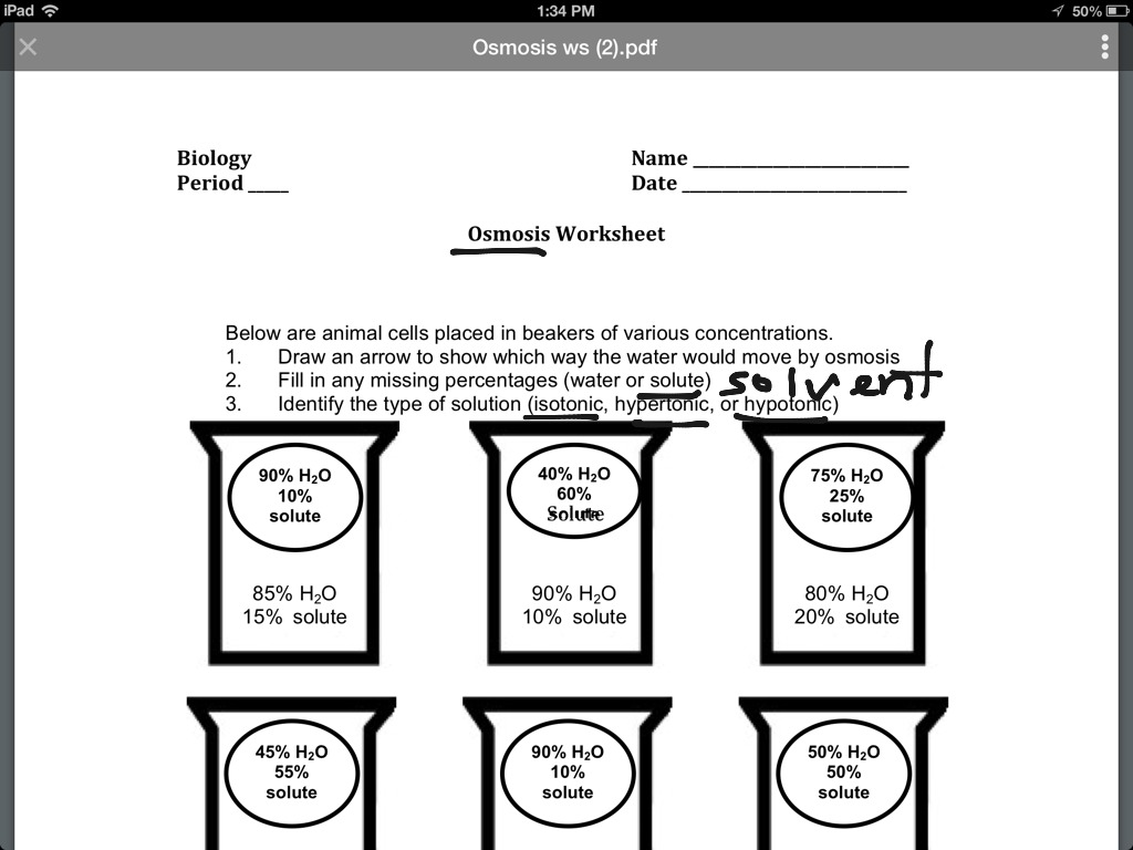 Worksheet Osmosis And Tonicity