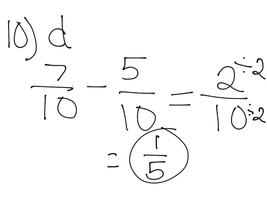 10 D Subtracting Fractions