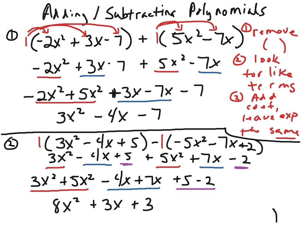 Adding Subtracting Polynomials