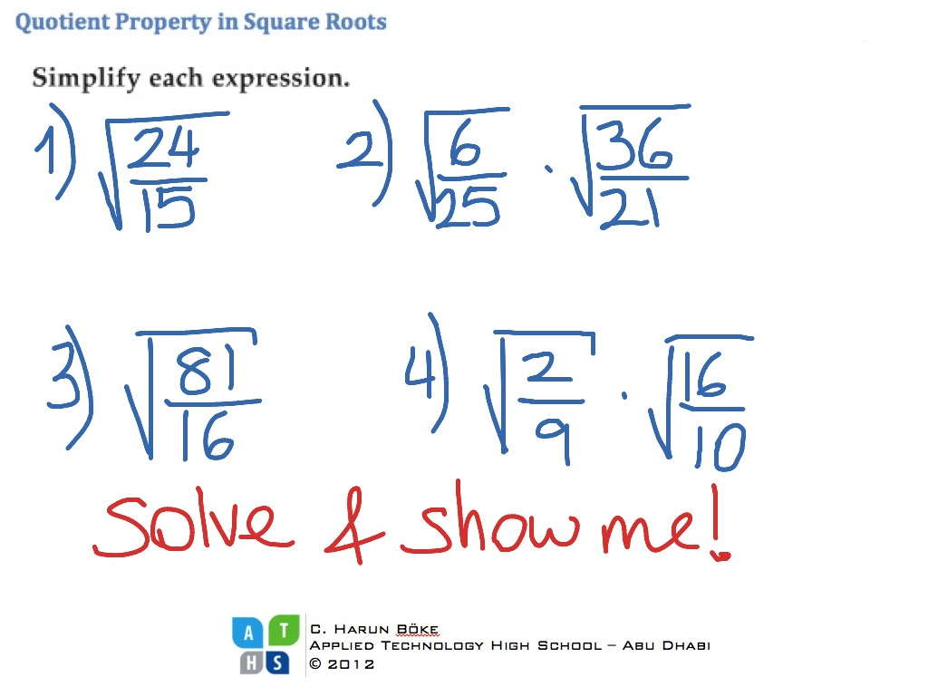 Quotient Property In Square Root Expressions