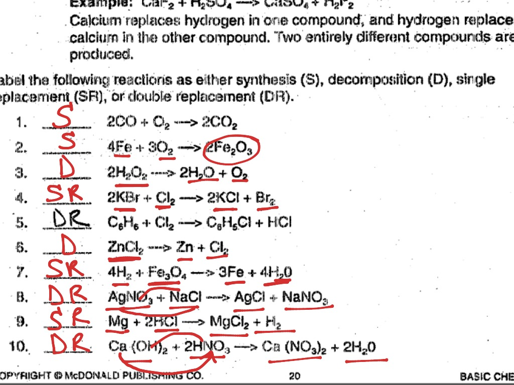 Worksheet Types Of Reactions Worksheet Answer Key
