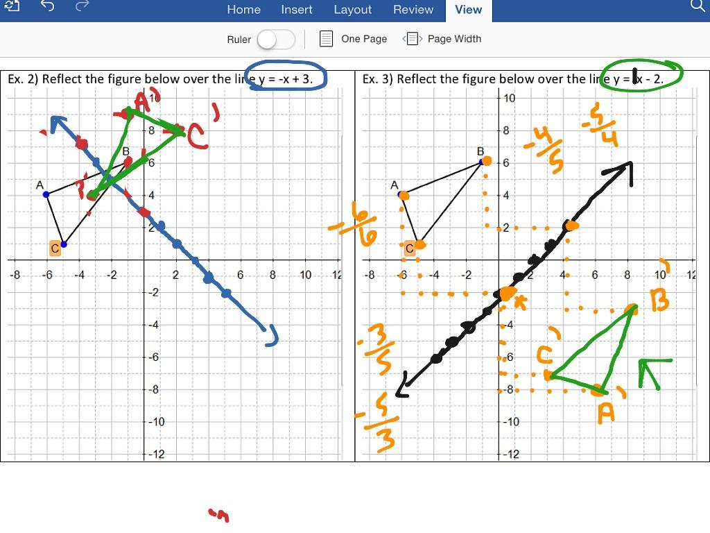 Geometry Worksheet Reflection Drawing