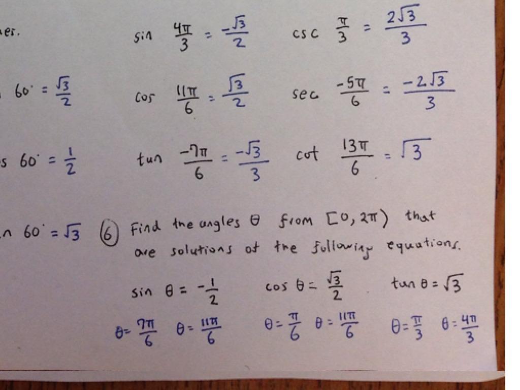 Basic Trigonometry Exercises