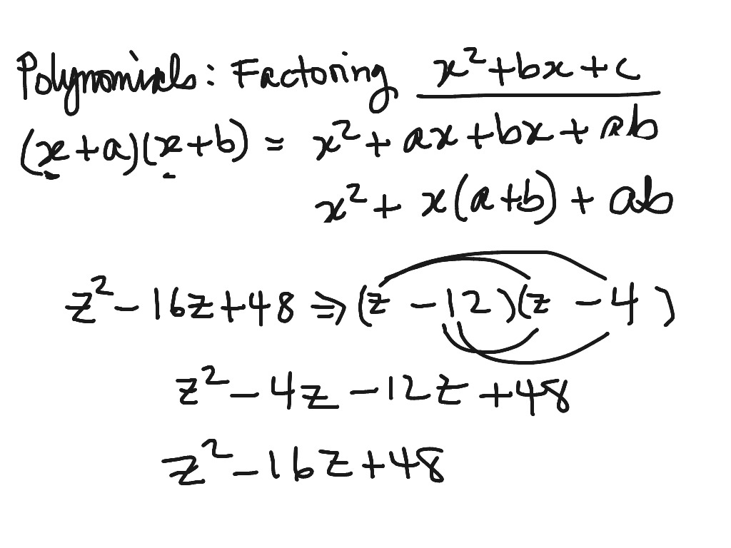 Factoring Trinomials Of The Form X2 Bx C Worksheet