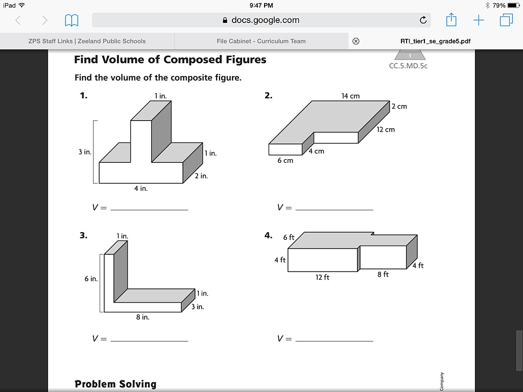 Volume Of Composite Figures Worksheet 5th Grade