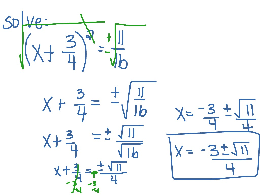 Square Root Property Fractions