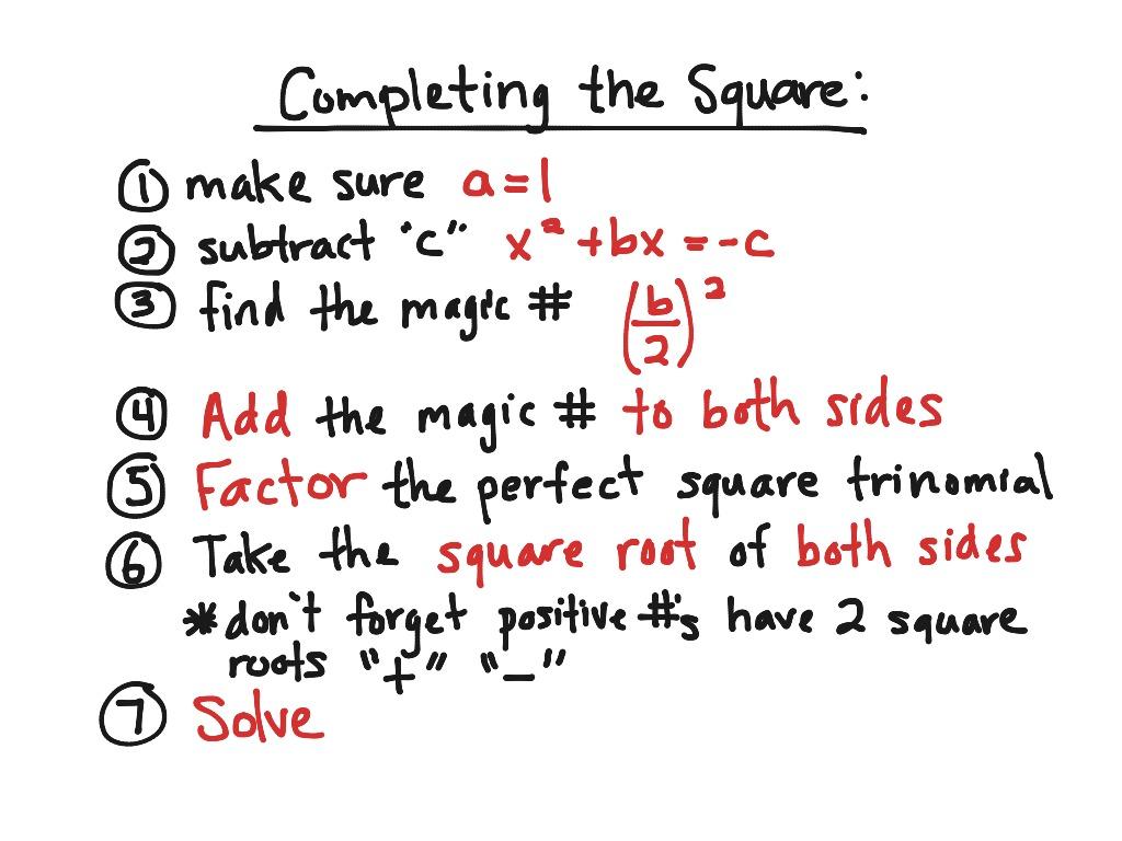 Algebra 9 4 Completing The Square
