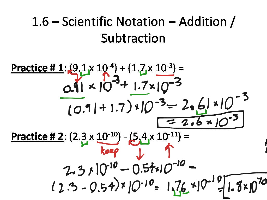 Adding And Subtracting Scientific Notation