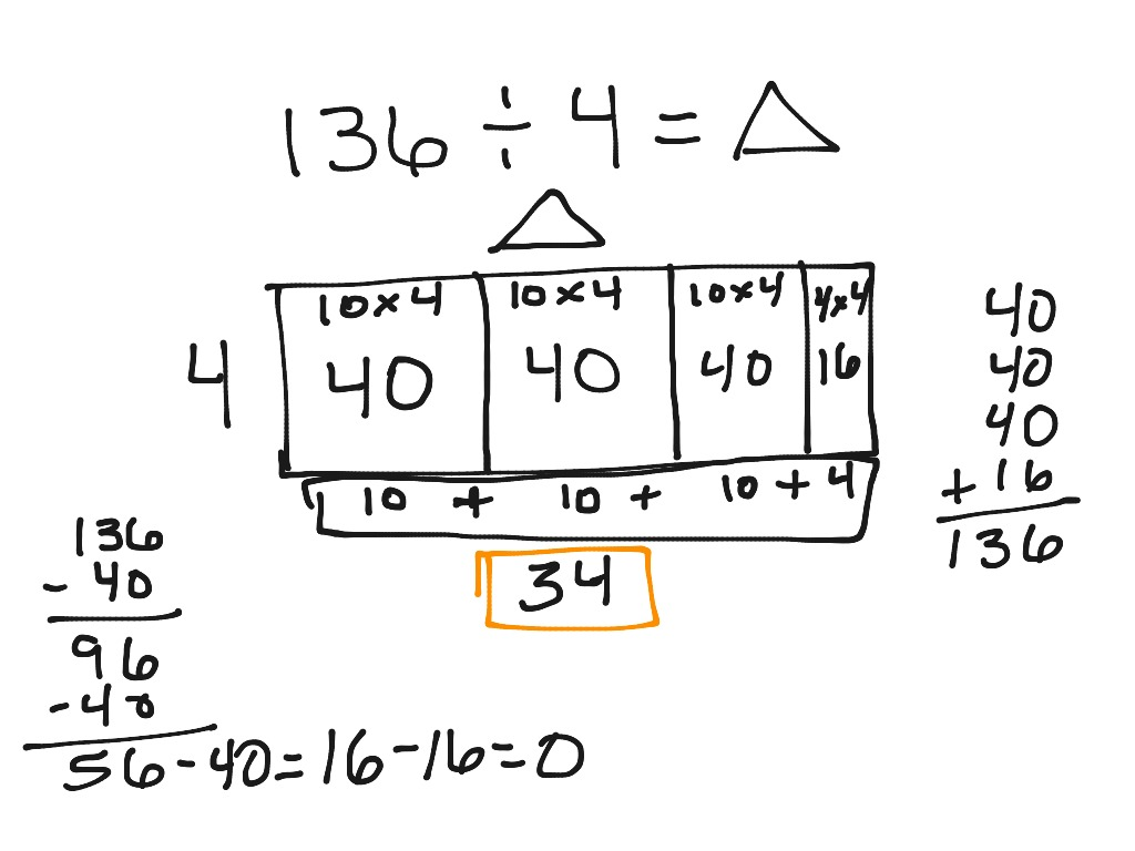 Division Using An Array To Solve For The Missing