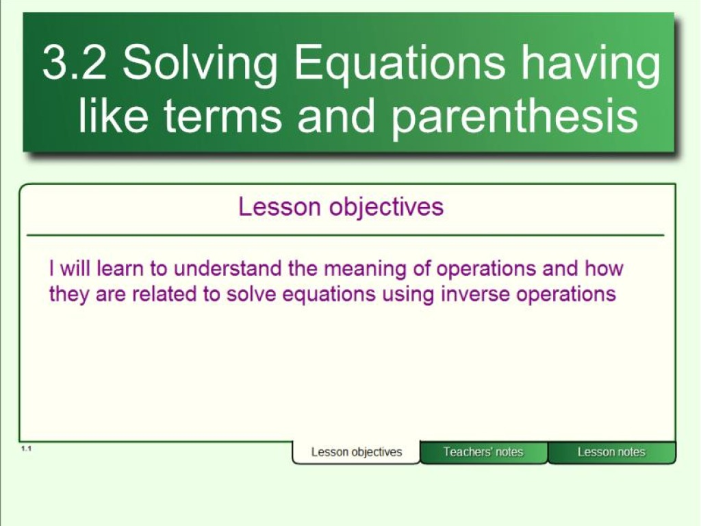 Pre Algebra 3 2 Solving Equations By Combining Like Terms