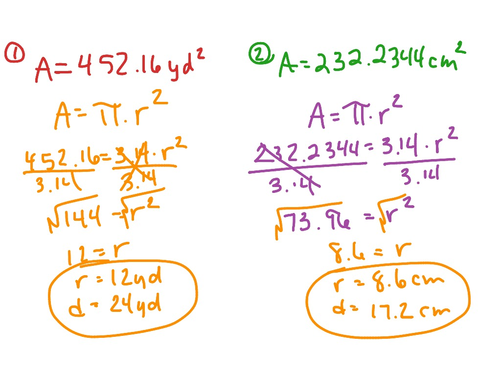 Finding The Radius And Diameter From The Area