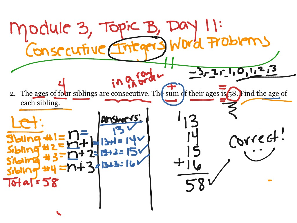 M3 Consecutive Integers Word Problems